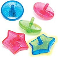 Baker Ross Light-up Spinning Tops for Children - Fun Party Bag Stuffer Loot Gifts for Kids (Pack of 6)