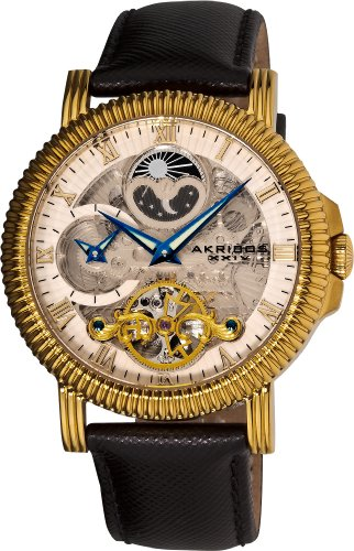 Akribos XXIV Men's AKR452YG Bravura Automatic Dual Time Skeleton Cream Dial Watch