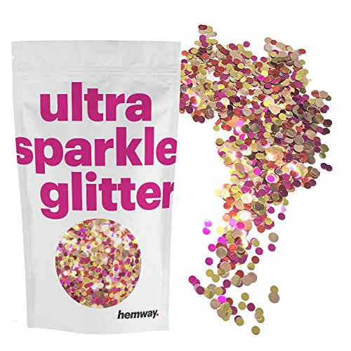 Glitter Disc - Hemway Gold Red Pink Disc Mix Glitter Chunky Multi Purpose Dust Powder Arts & Crafts Wine Glass Decoration Weddings Flowers Cosmetic Face Eye Body Nails Skin Hair Festival 10g