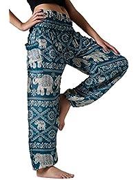 Women's Harem Pants Bohemian Clothes Boho Yoga Hippie Pants Smocked Waist