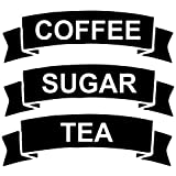 CRibbon Set of Coffee/Tea/Sugar Vinyl Stickers/Labels for storage jars canisters (BLACK)