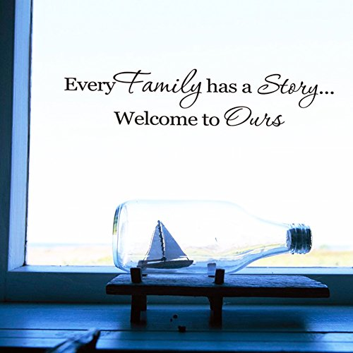 QuotesWallDecal InspirationalWallStickers Motivational Family Saying DecorativeNurseryArtKids Baby Home Letters Vinyl Peel & Stick Mural Art Every Family has a Story Welcome to Ours (Every)