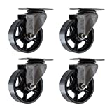 (Set of 4) 5'' CC Vintage Swivel Casters - Plate Mount - Black Cast Iron Wheels