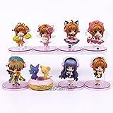 Anime Card Captor Sakura PVC Figures Toys Keychains 8pcs/set Kinomoto Sakura Daidouji Tomoyo Li Syaoran Kero