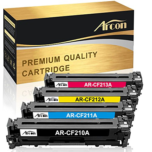 Arcon 4 Packs Compatible HP 131A CF210A Toner Cartridge For HP 131A CF210A 131a For HP LaserJet Pro 200 color M251nw M251 M251n MFP M276 M276n MFP M276nw HP LaserJet 131a Canon MF8280Cw Printer Toner (Hp Laserjet Pro 200 Color Printer)