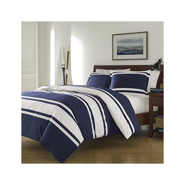 3 Piece Navy Blue White Rugby Stripes Duvet Cover Full Queen Set