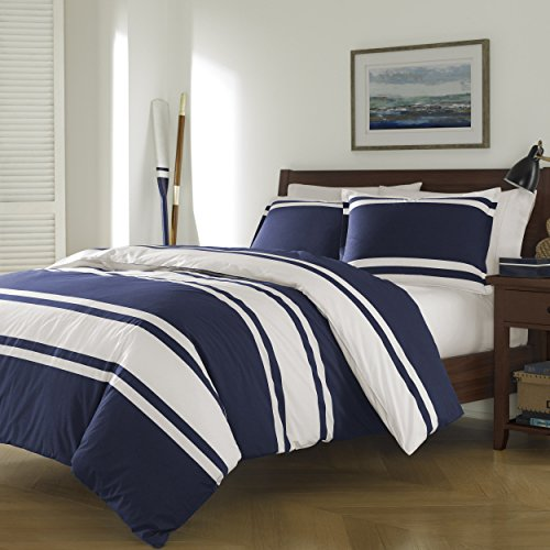 3-Piece-Navy-Blue-White-Rugby-Stripes-Duvet-Cover-Full-Queen-Set-Horizontal-Striped-Bedding-Sports-Themed-Colors-Nautical-Cabana-Stripe-Line-Pattern-Coastal-Cotton-Polyester