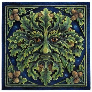 Unicorn Studios WU76494AA Green Man Oak Foliage & Acorn Wall Plaque ()