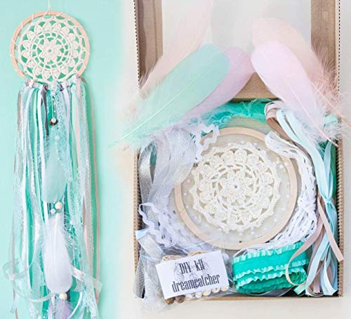 DIY Dream catcher Kit - Make Your Own Craft Project Mint White Diam 5' ( 12.5 cm) Birthday Gift Bridal Shower Favor from WORLDREAMER