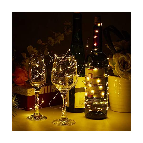 【10 pezzi】Luci Stringa LED - 20 LED 2M Mini Lampada a fili di rame Bianco Caldo, Lucine Decorative a Batteria Luci d'atmosfera Bottiglia di vino, Interni e Esterni per Festa, Natalizie, Halloween 6 spesavip