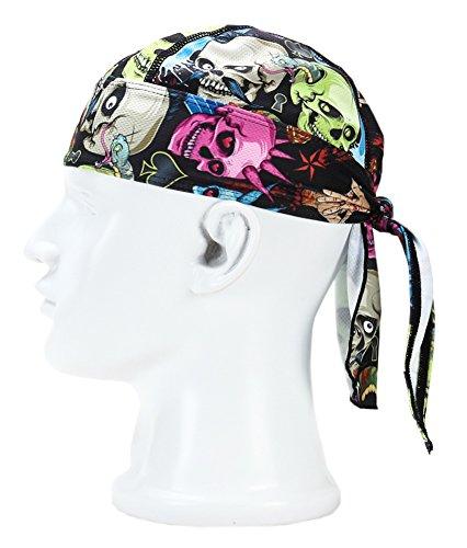 Adjustable Double Headband - lilyy Wicking Beanie Bandana, Cycling Running Adjustable Double Dry Dew Doo Rag Headwrap Headband Skull Cap Hat