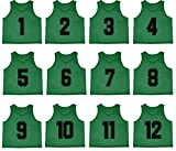 Oso Athletics Set of 12 Premium Polyester Mesh Numbered Jerseys Scrimmage Vests Pinnies w/ Carrying Bag for Children, Youth, & Adult Team Sports Soccer, Basketball, Football, Baseball (Green, Adult)