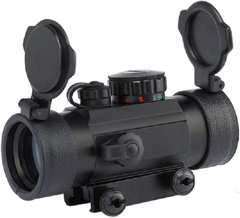 YODZ Vista de Punto Rojo, 1X30 4 Tipos Puntos Rojos, 5 Tipos Brillo Alcance Ópticas holográficas reflejas Táctica para rieles de 20 mm con Tapa abatible Cubierta de Lente para Pistola Airsoft
