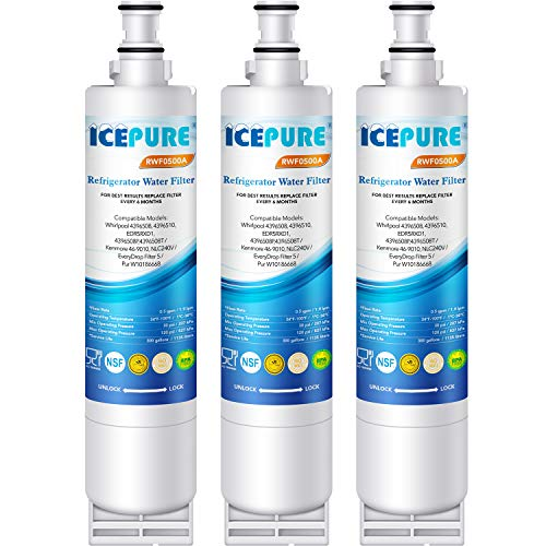 Price comparison product image ICEPURE 4396508 Replacement Refrigerator Water Filter for Whirlpool 4396508,  4396510, 4392857, Filter 5, EDR5RXD1, NL240V, WFL400, wf285, RWF0500A 3PACK