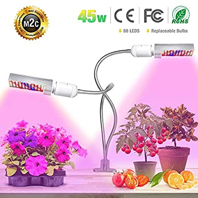 LED Plant Grow Light for Indoor Plants- 45W Full Spectrum Sunlike Replacement Plant Light with Double Switch - 360 Degree Dual Head Flexible Gooseneck Grow Lamps