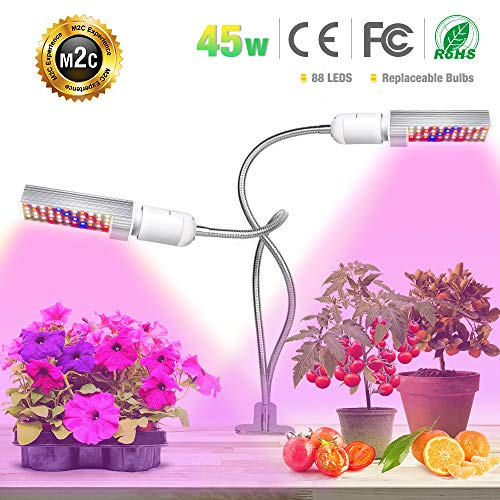 LED Plant Grow Light for Indoor Plants- 45W Upgraded Full Spectrum Replacement Plant Light with Double Switch - 360 Degree Dual Head Flexible Gooseneck Grow Lamps by Bozily