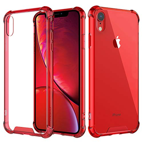 MoKo Compatible with iPhone XR Case, Crystal Clear Reinforced Corners TPU Bumper + Anti-Scratch Hybrid Rugged Transparent Hard Panel Cover Fit with Apple iPhone XR 6.1 inch 2018 - Red (Red Clear Skin Phone Case)