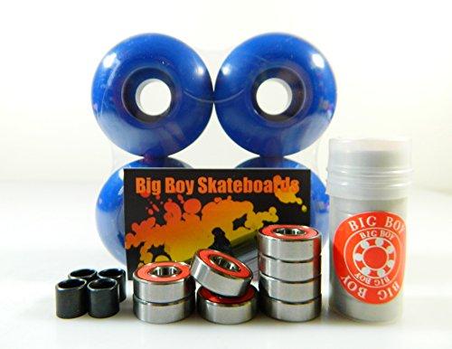 Set of 4 Skateboard Wheels Blank 52mm Blue + Abec 7 Bearings and Spacers