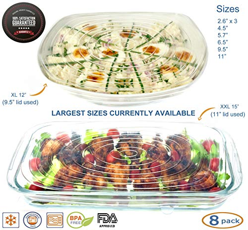 Small Rectangular Bowl - Silicone Stretch Lids Reusable 8 Pack Food Covers, Round, Rectangle, Square Shapes, Platters, Dishes, Bowls, Pots, Containers, Jars, Cans, Cups and Glasses