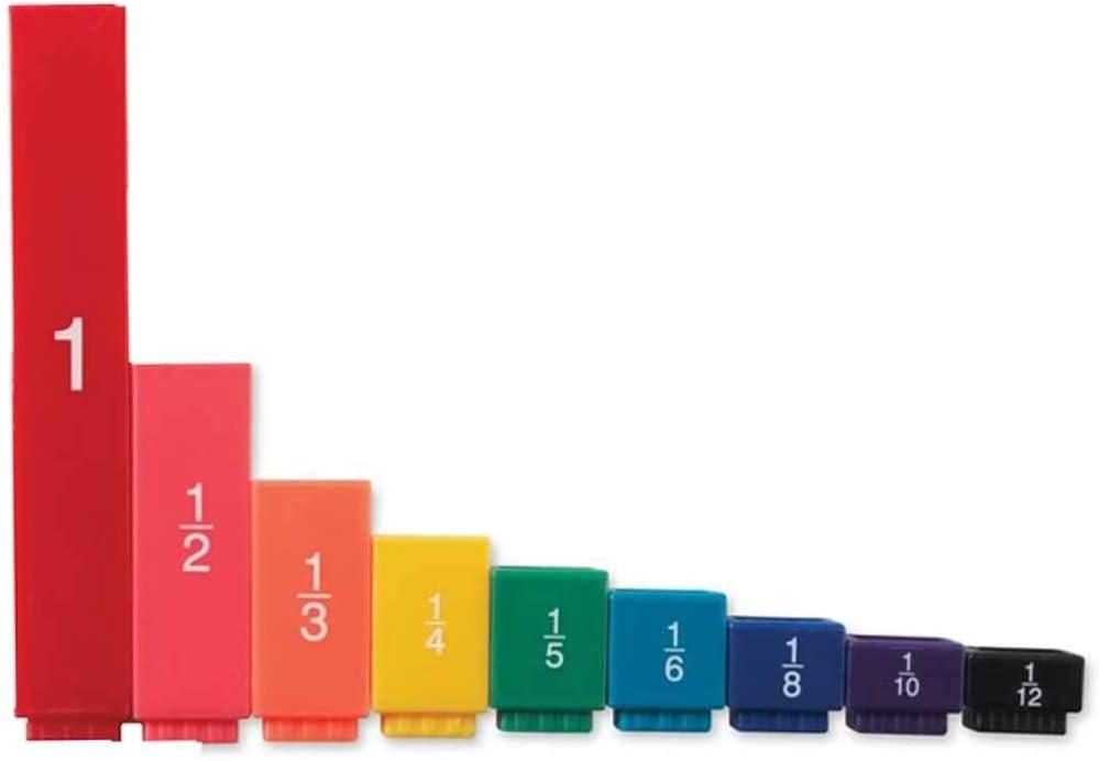 hand2mind Plastic Rainbow Fraction Tower Equivalency Cubes Montessori Math Materials for Kids to Learn Fraction Equivalence Math Manipulatives 4th Grade, Homeschool Supplies (Set of 51)