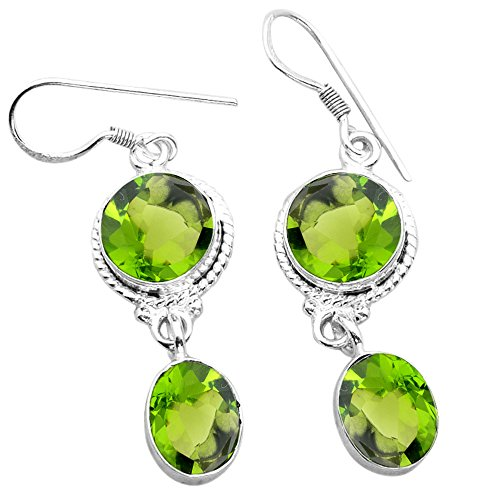 16.40ctw, Simualted Peridot Quartz & 925 Silver Plated Dangle Earrings Made By Sterling Silver - Sterling Peridot Plated 8mm