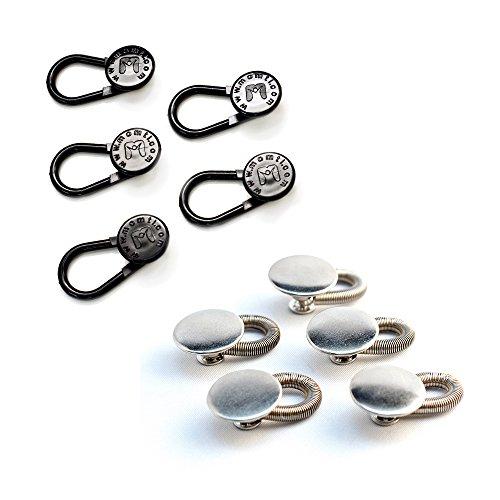 10 x Pant Button Extender (5 Black Plastic, 5 Spring Metal) - (Black Hy Part)