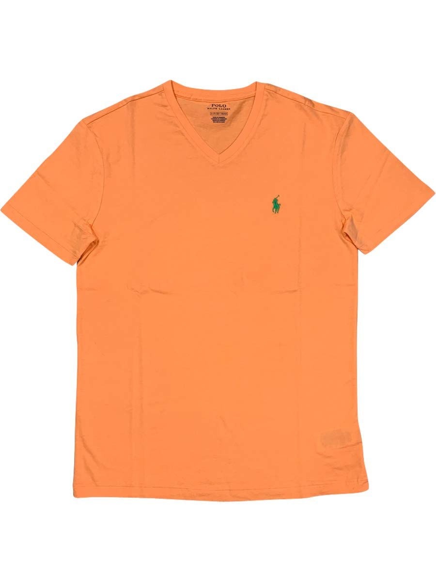 Ralph Lauren Polo Men's Cotton V-Neck T-Shirt Orange (Medium, Orange) by Polo Ralph Lauren