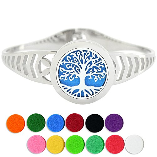 Lademayh Aromatherapy Essential Oils Diffuser Bracelet Tree of Life Diffuser Locket Jewelry, 25mm Stainless Steel Perfume Diffuser Cuff Bracelet with 12 Felt ()