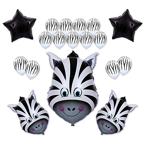 18Pack Kids Birthday Party Decorations 30inch Zebra Balloon