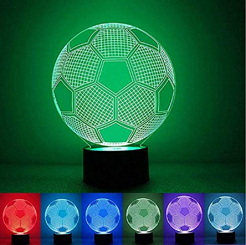 Seven Colors Changing Soccer Ball Light Football 3D Visual Led Night Light USB Novelty Table Lamps as Home Decor Besides Lampara