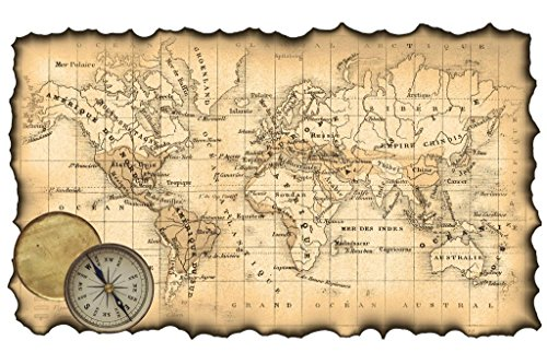 World Ancient Map - Ancient Map of The World Antique Style Map Mural Giant Poster 54x36 inch