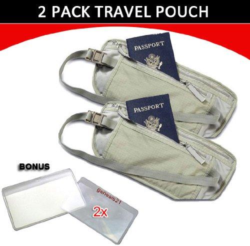 Travel Pouch Compact Security/ Hidden Money Waist Belt – 2 Pack + BONUS, Bags Central