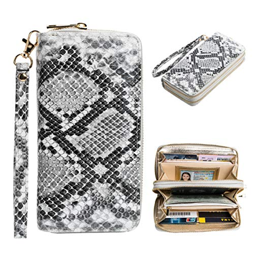 (Heaye Snake Print Women Wristlet Wallet RFID Blocking Double Zip Ladies Travel Wallet 16 Card Slots, Grey +)