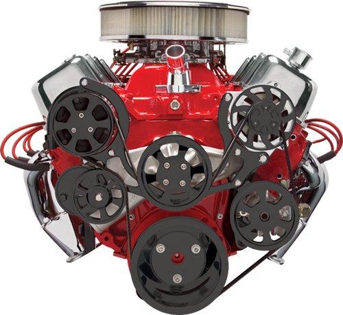Nueva Billet Specialties negro anodizado tru-trac BBC frontal Motor Kit con bomba de agua, bomba de alternador, dirección asistida, a/c compresor, ...