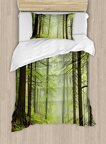 Alder Set Bed - Ambesonne Outdoor Duvet Cover Set Twin Size, Trail Trough Foggy Alders Beeches Oaks Coniferous Grove Hiking Theme, Decorative 2 Piece Bedding Set with 1 Pillow Sham, Pale Green Pale Yellow