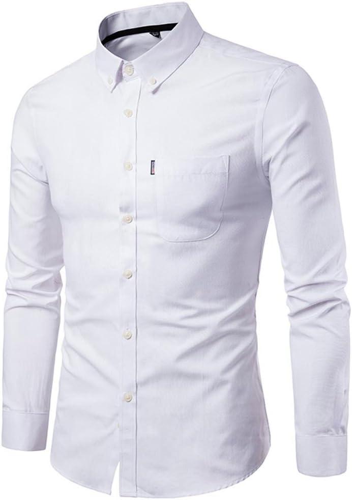 Camisas hombre El color puro de los hombres Oxford-hizo girar las camisas de manga larga del negocio,YanHoo® Mens Casual manga larga camisa negocio Slim Fit Camisas de blusa (Blanco, 3XL): Amazon.es: Iluminación