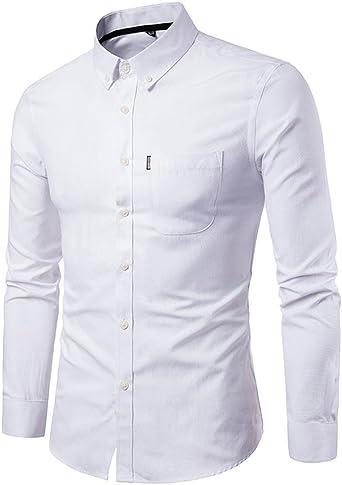 Camisas hombre El color puro de los hombres Oxford-hizo girar las camisas de manga larga del negocio,YanHoo® Mens Casual manga larga camisa negocio Slim Fit Camisas de blusa (Blanco, M): Amazon.es: Iluminación