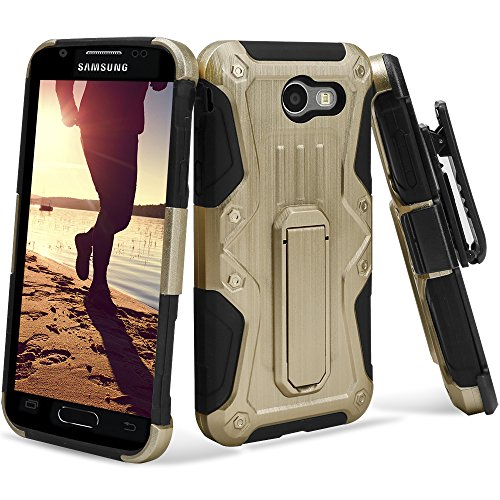 Galaxy J3 Emerge Case, UMAX [Warrior Series] Dual Layer [Shockproof] Protector Case w/ Landscape Stand [Holster Clip][Kickstand] For Galaxy J3 (2017) / Galaxy J3 Emerge / SM-J327, Gold hot sale 2017