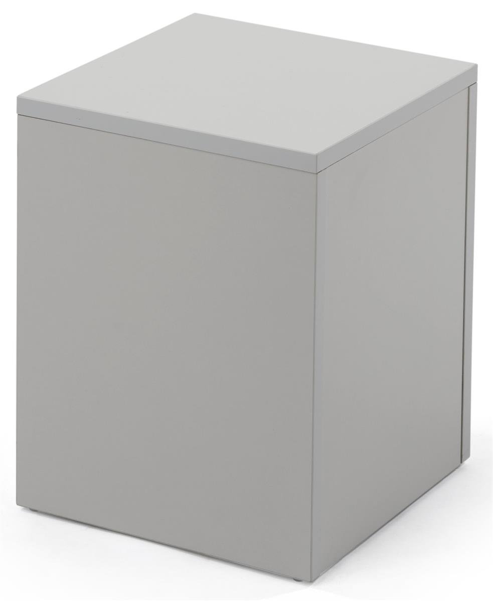 Displays2go White Merchandise Display Cube, 16 Inch Tall with Collapsible Design - White (WDCUBEWHT1)