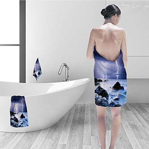Price comparison product image Hand towel set Lake House Decor Summer Storm Flashes over the Rocks in Ocean Nightmare Theme Weather Nature Image Bathroom Accessories Purple and Blue