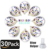 Bollovi Confetti Balloons Latex with Multicolored Paper Dots Party Decorations Wedding Birthday Anniversary Accents (30 Piece), Colorful, 12 Inch