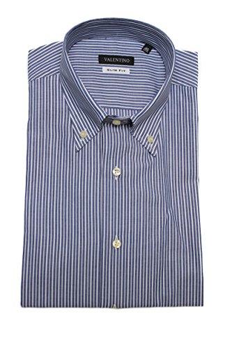 Valentino Men Slim Fit Cotton Dress Shirt Pinstripe Blue White