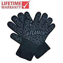 "UPGRADE EN407 Flamen BBQ Grilling Cooking Gloves 932 °F 500°C Heat Resistant Oven Gloves 13"" Long for Extra Forearm Protection 1 Pair"