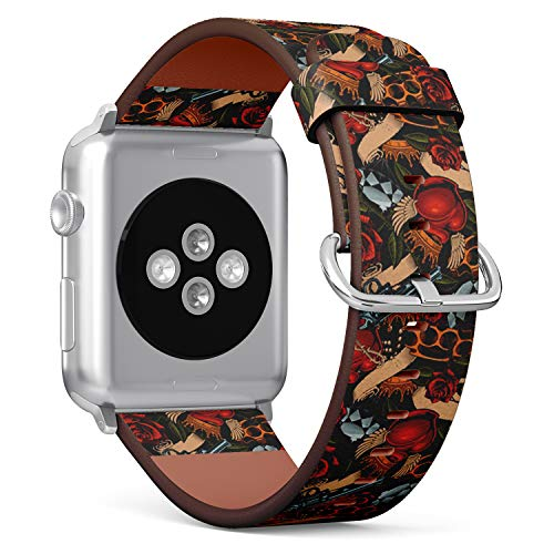 Compatible with Apple Watch Serie 4/3/2/1 (Big Version 42/44 mm) Leather Wristband Bracelet Replacement Accessory Band + Adapters - Old School Tattoo