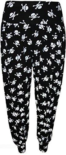 Fashion 4 Less, Nuevos pantalones para mujer tamaño Plus grandes estampados chapados tipo harén. Reino Unido 12-26 Skull Bone