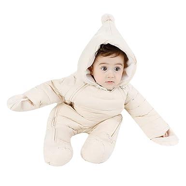 51de66432 Happy childhood Unisex Baby Winter Hooded Down Jumpsuit Snowsuit Romper  Warm Overall Infant Bodysuit Onesies Beige