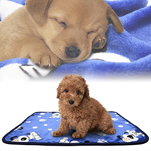 iNNEXT Puppy Blanket Pet Cushion Small Dog Cat Bed Soft Warm Sleep Mat, Pet Dog Cat Puppy Kitten Soft Blanket Doggy Warm Bed Mat Paw Print / Puppy Print Cushion Blue Puppy Blanket
