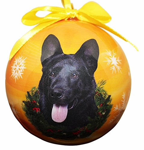"""""""German Shepherd, Black Christmas Ornament"""" Shatter Proof Ball Easy To Personalize A Perfect Gift For German Shepherd Lovers"""