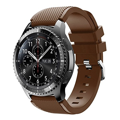Samsung Gear S3 Band,KCOYO Soft Silicone Strap Replacement Bracelet Strap for Samsung Gear S3 Frontier/Classic 22mm (Brown) - Watch Frontier Chrome