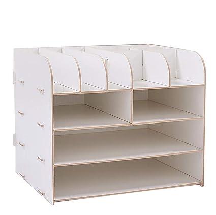 QIQIDEDIAN Almacenamiento Rack Suministros de Oficina Escritorio Caja de Almacenamiento Titular de Archivo A4 Caja de